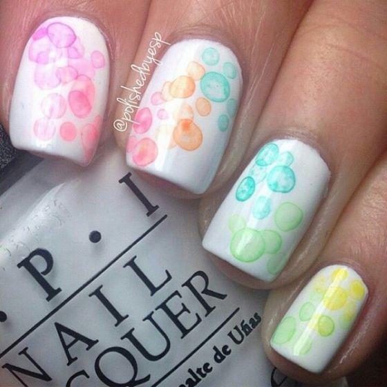 Piggieluv Rainbow Bubbles Nail Art: Uñas Color Pastel De Colores