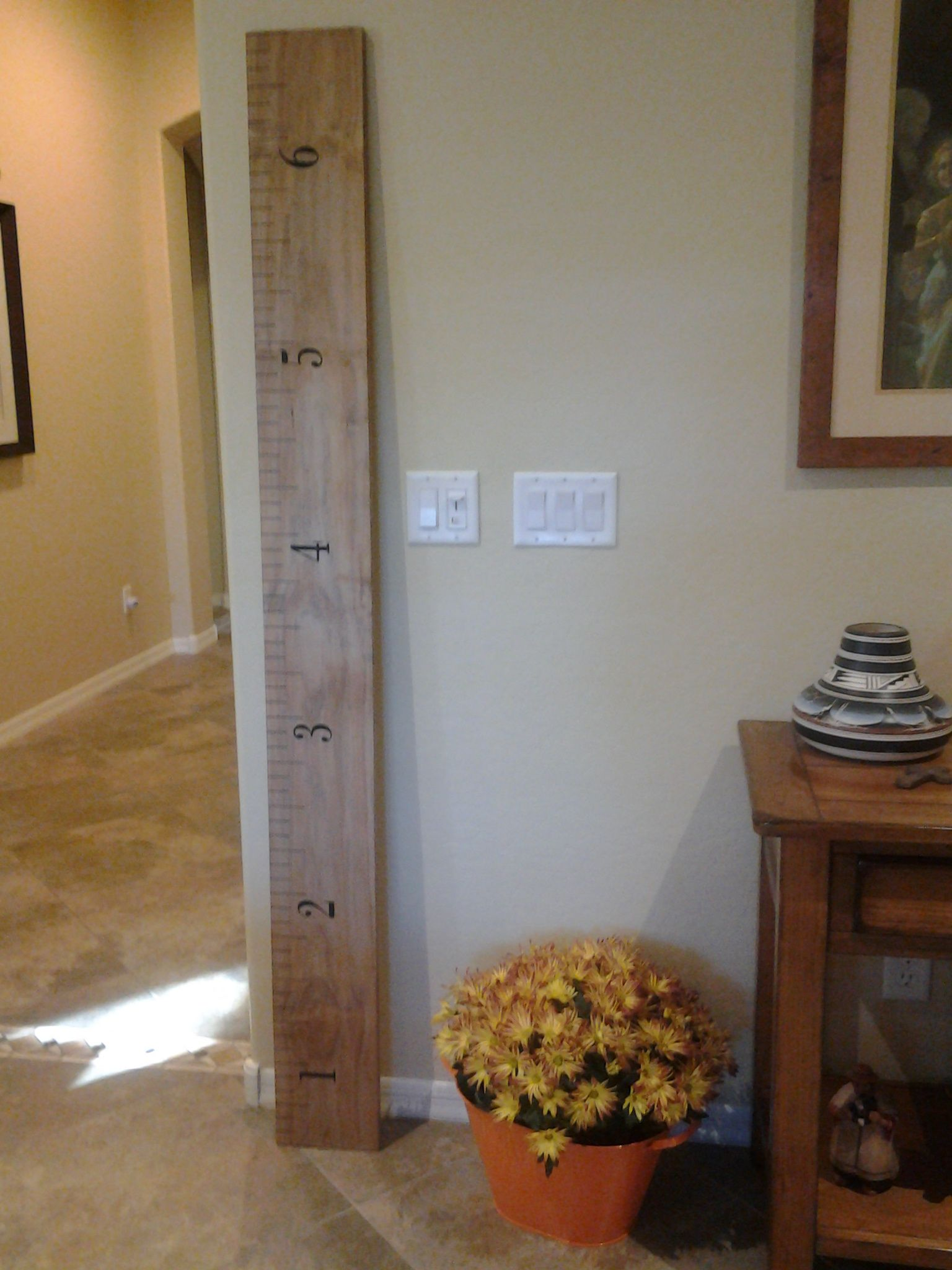 Love our new handmade oversized wood ruler wall art made by friend