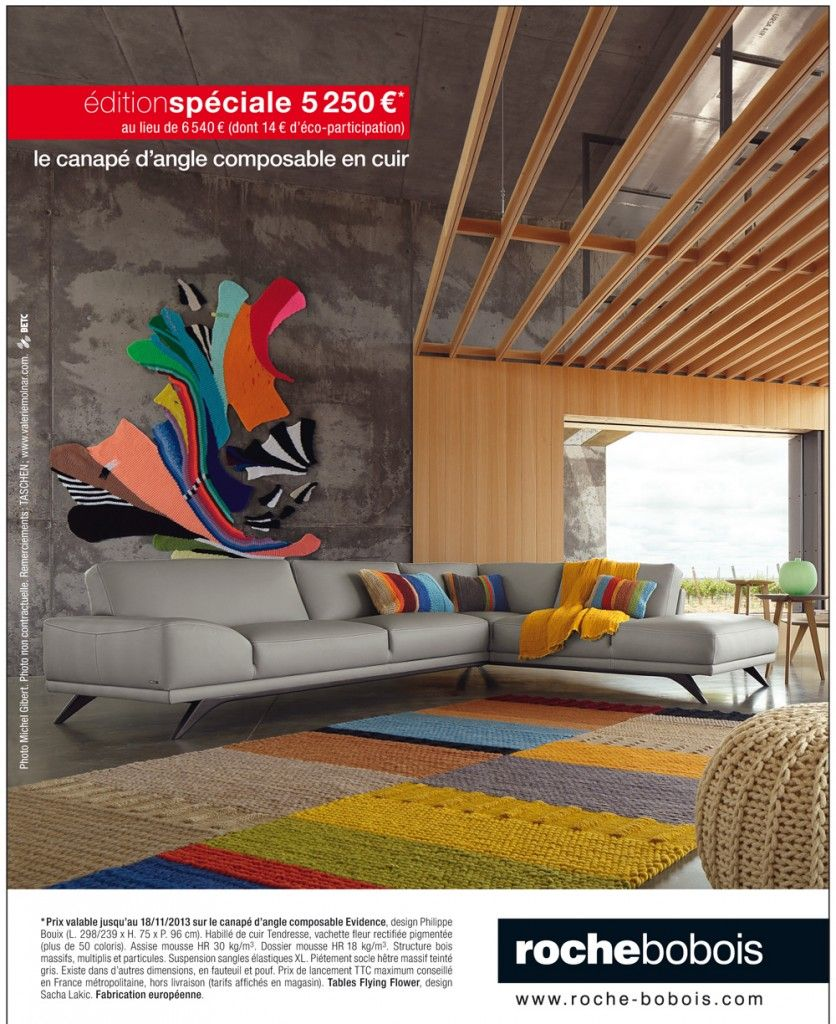 canap d 39 angle evidence chez roche bobois village du. Black Bedroom Furniture Sets. Home Design Ideas