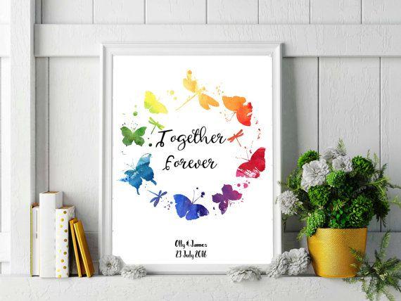 Rainbow wedding print lesbian wedding gifts personalized wedding