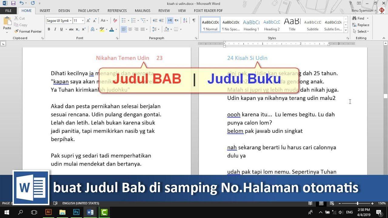 Cara Menampilkan Judul Bab Di Samping No Halaman Secara Otomatis Di Word Tutorial89 Tutorial Microsoft Word Video Ini Adalah Lanjut Buku Microsoft Membaca