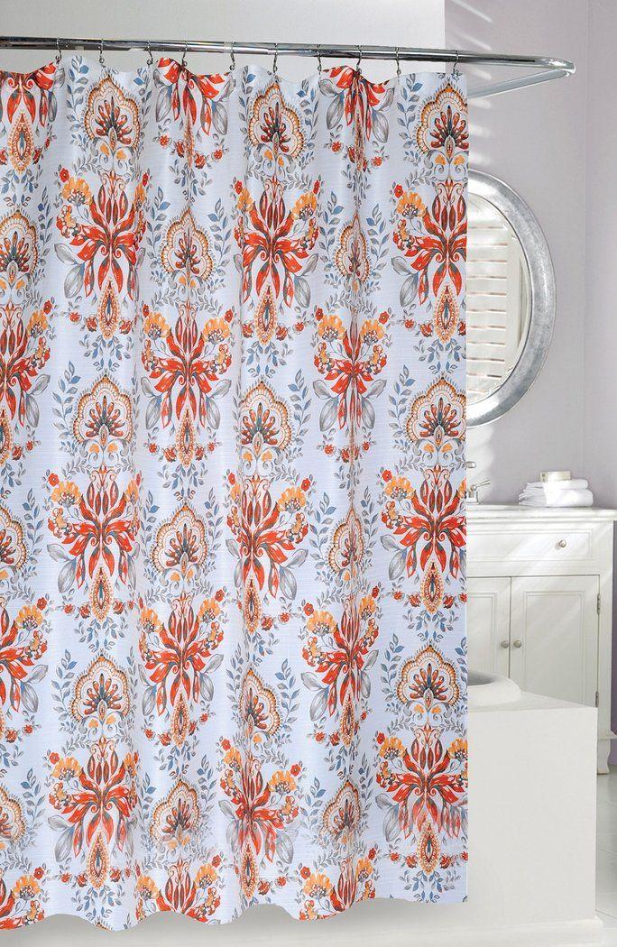 Moda At Home Leaf Motif Shower Curtain Multi Modern Bathroom