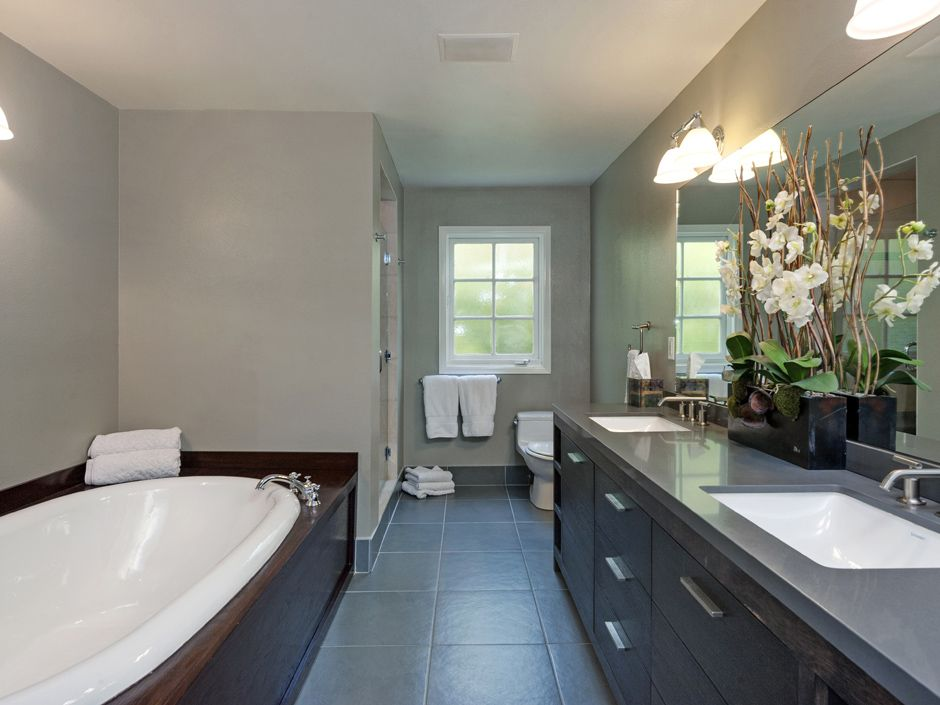 His and her sinks a large walk in shower and oversized for Spa bath designs and layouts