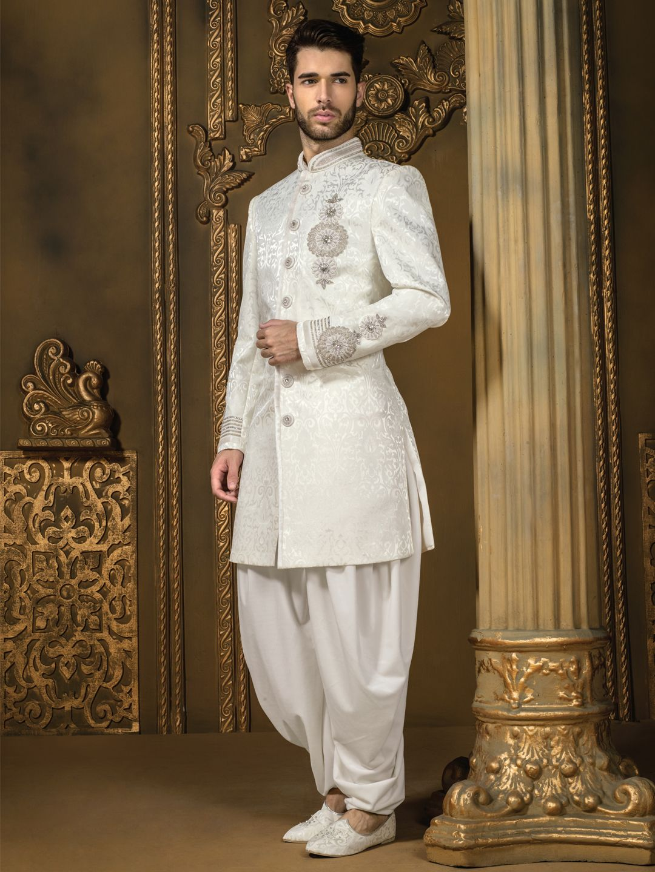Jamawar Off White Wedding Wear Men Indo Western For Price Or Detail Do Whatsapp 919913433322: Off White Western Wedding Dresses At Websimilar.org