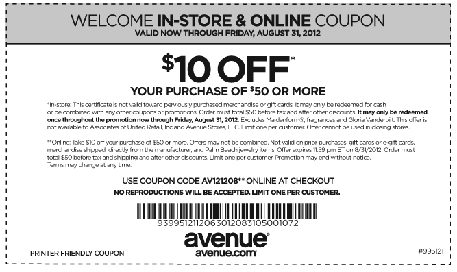 10 Off 50 At Avenue Clothing Or Online Via Checkout Promo AV121208 Coupon The Coupons App