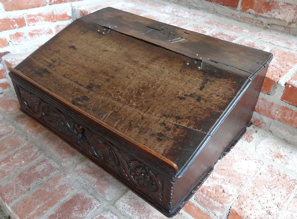 Antique English Carved Oak Gothic Bible Box Chest Display Stand Date Awesome Bible Display Stand