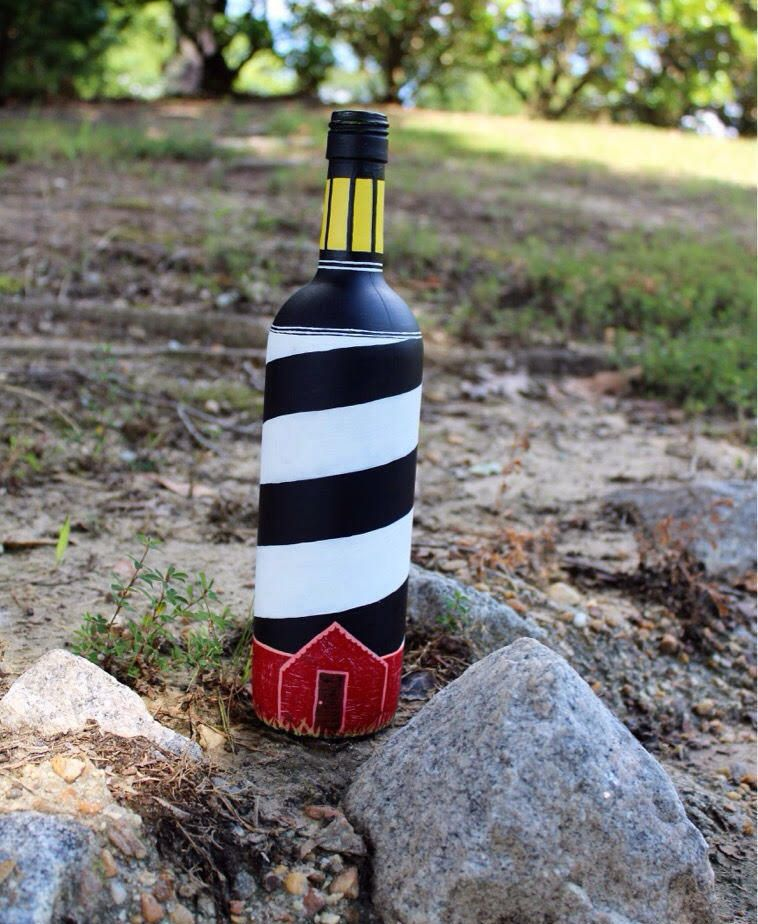 Lighthouse Hand Painted Wine Bottle by AfterTheWineByMarlee