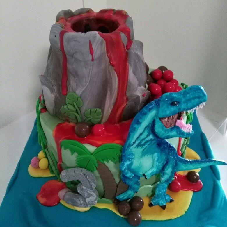 Dinosaur active volcano cake that actually overflows Jurassic