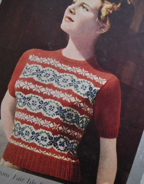 Willow Tree Pattern Knitting Patterns Vintage 1930s//40s Fair Isle Jumper 34/""