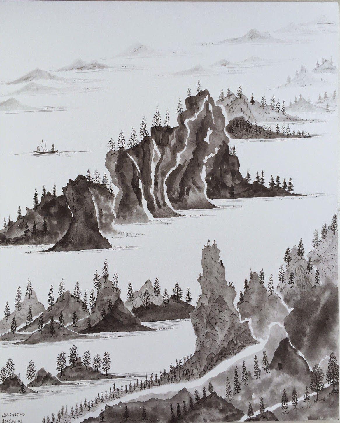 Encre de Chine sur bois - En dialogue avec un vers de Li Po... #Art #Artiste