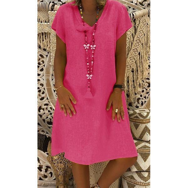 Photo of Autumn Print Loose SevenPoint Sleeve Women'S VNeck Dress Sum…