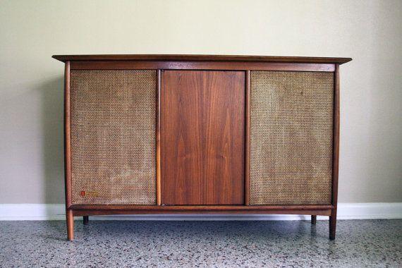 Mid Century Stereo Console Conversion   Vintage Media Console/Bar/Cabinet    1950s 1960s Mad Men Eames Era