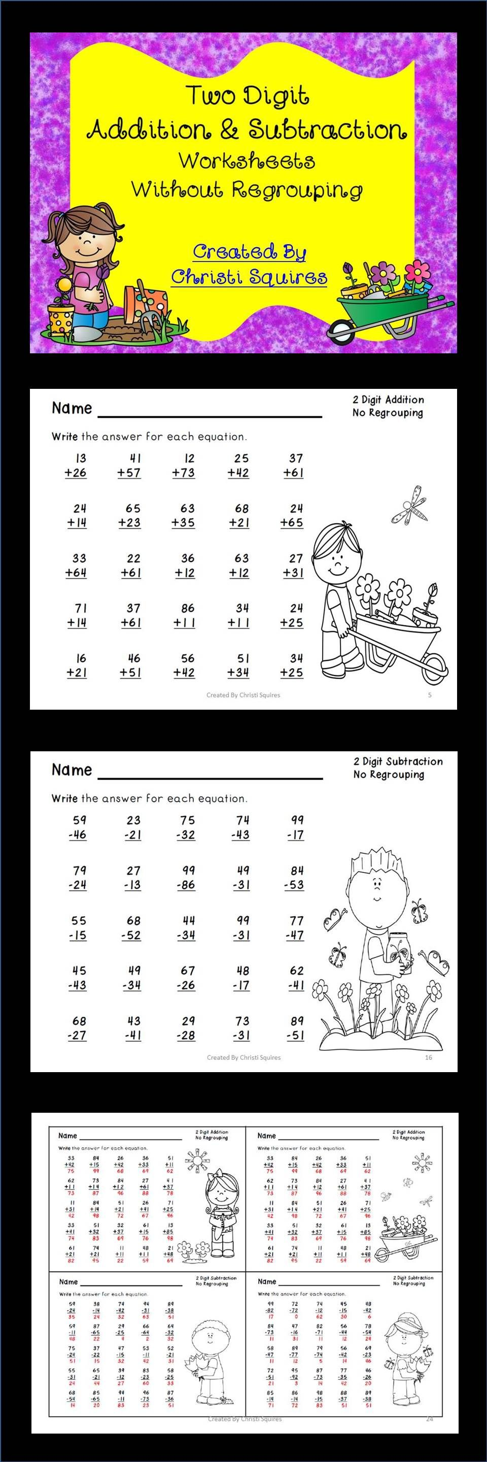 Two Digit Addition Subtraction Worksheets Without Regrouping Addition And Subtraction Worksheets Teaching Math Addition And Subtraction [ 2880 x 960 Pixel ]