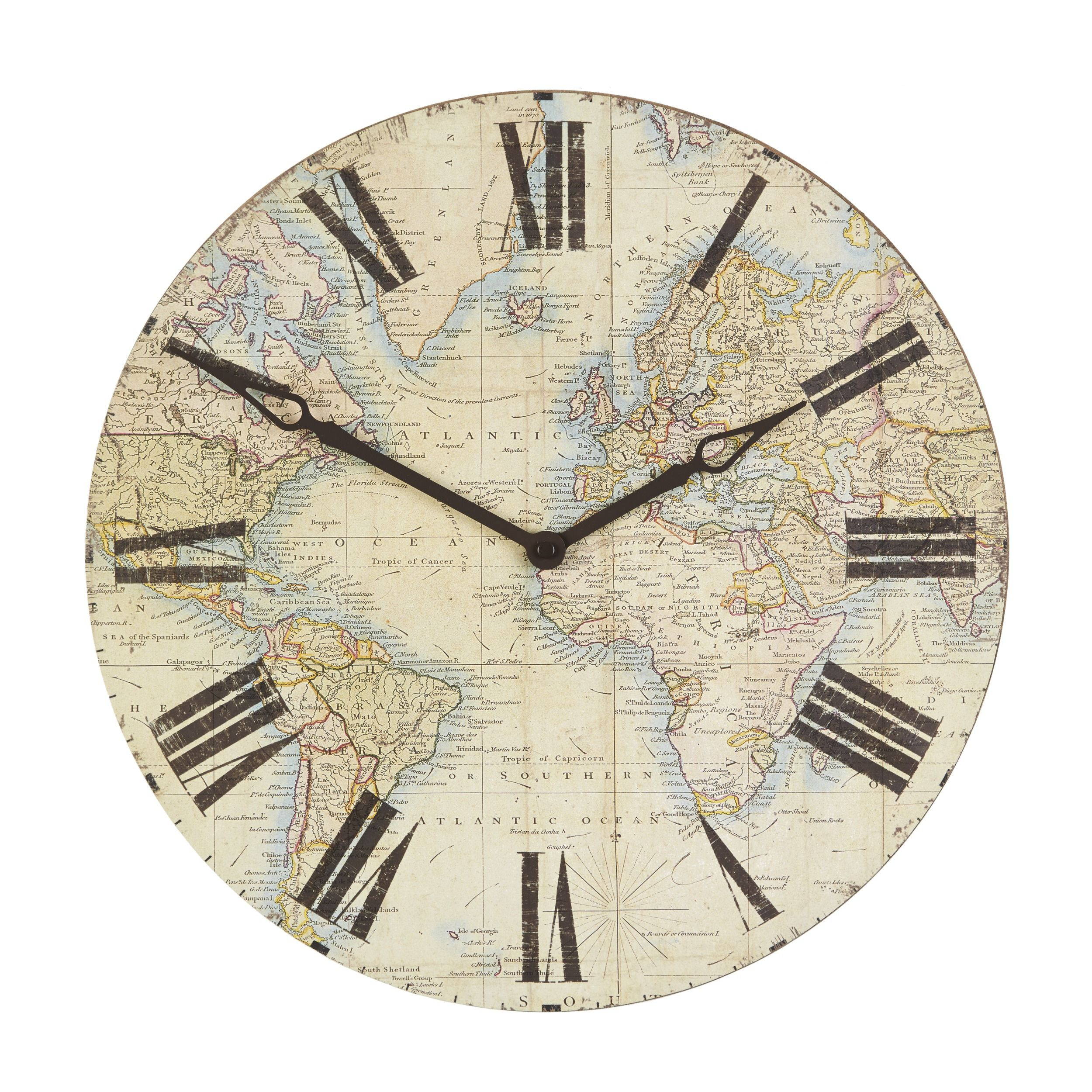 Laura ashley world map clock pinterest laura world map wooden wall clock gumiabroncs Images