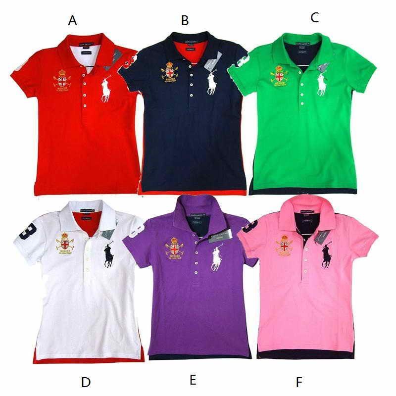 Wholesale Ralph Lauren Big Pony Womens Short Sleeve Polo Shirts 7 Colors Choice 5pcs Lot