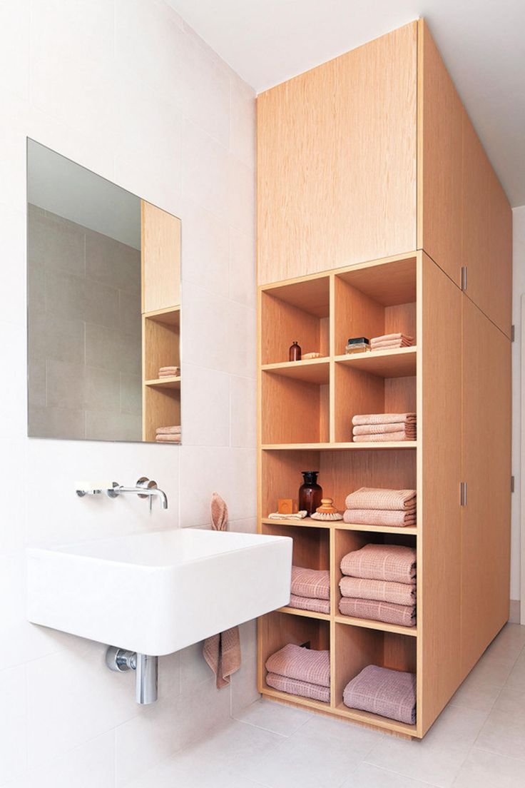 organized bathroom storage.