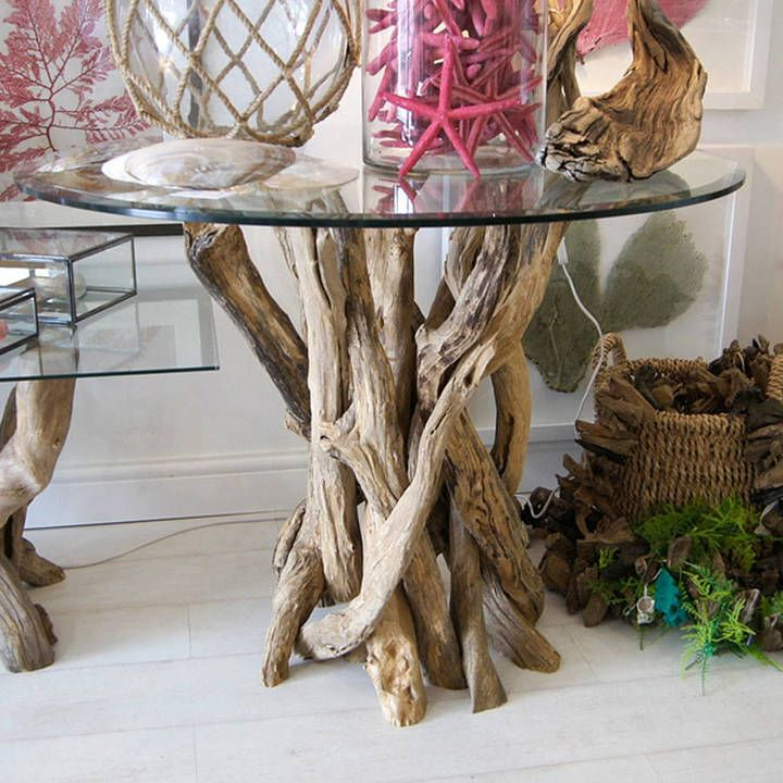 Amazing Natural Driftwood Dining Table With Glass Top Doris