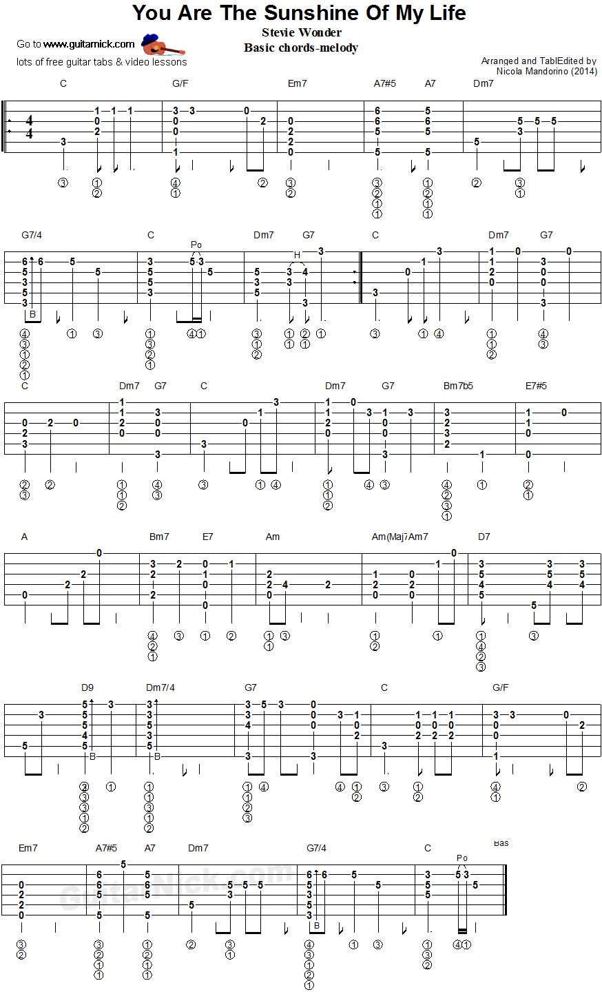 You Are The Sushine Of My Life Chords Melody Gutar Tablature