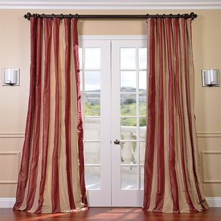 EFF Red Golden Tan Striped Faux Silk Taffeta Curtain Panel