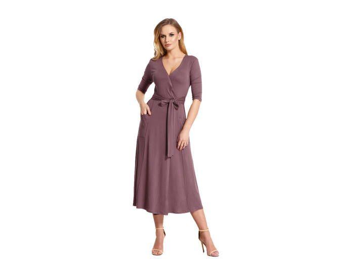 Elegantes Damen Kleid 3/4 Arm Abendkleid mit V-Ausschnitt ...