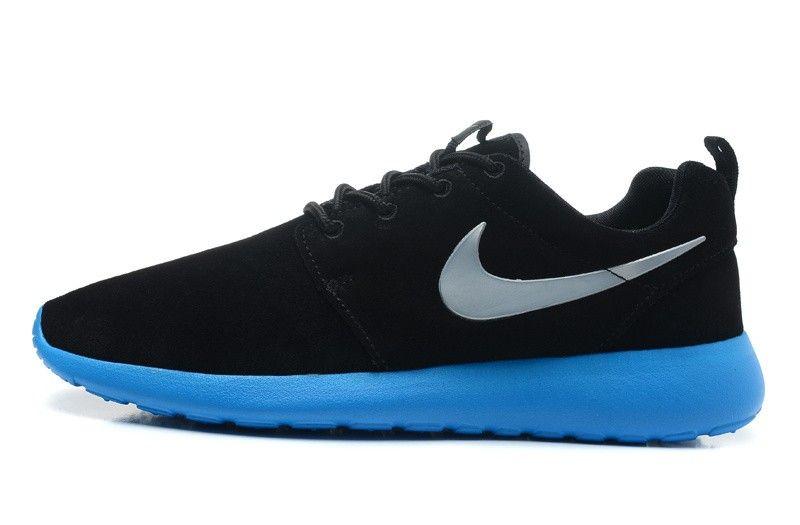 Nike Roshe Run Chaussures En Daim Noir/Argent/Bleu Céruléen/Volt Pour Homme