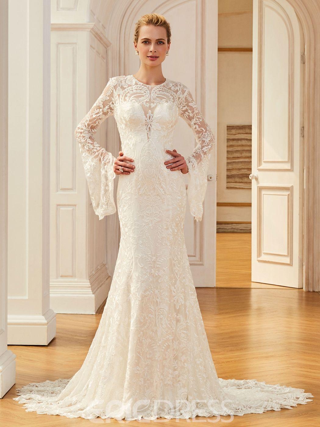 Jewel Mermaid Lace Long Sleevs Wedding Dress | Wedding dress ...