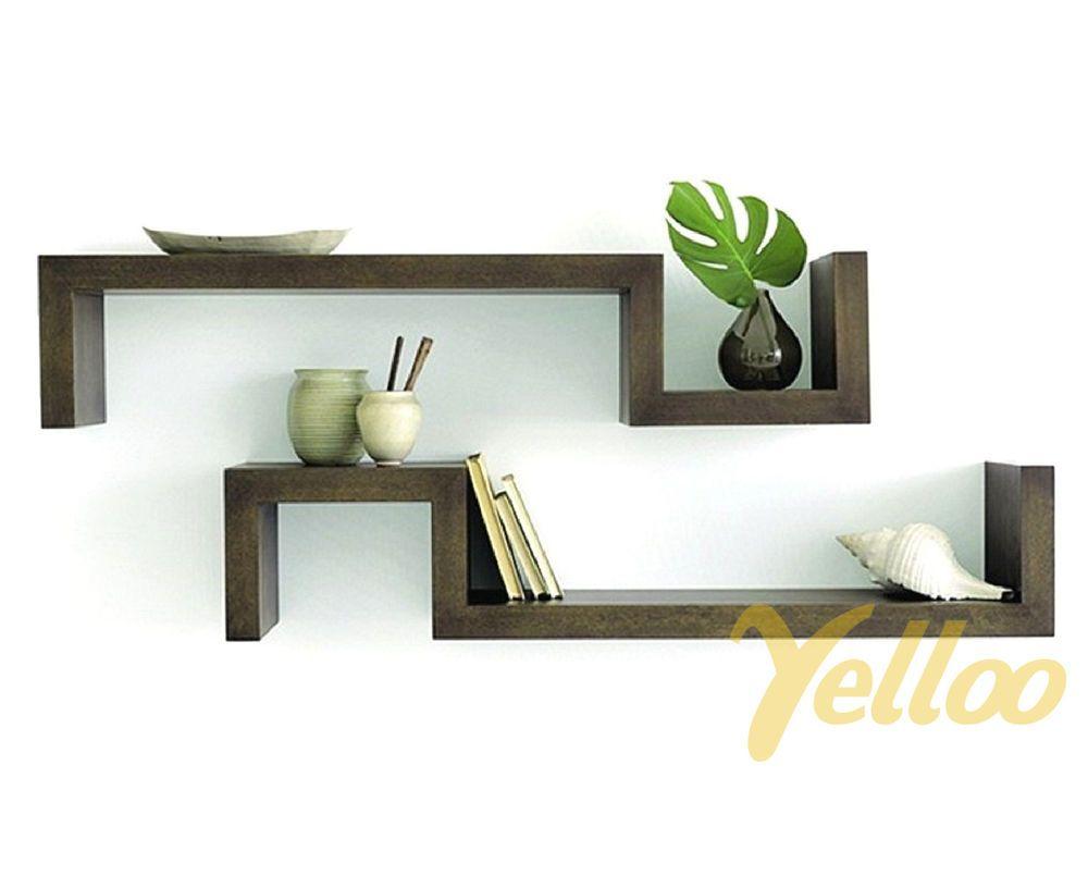 2 mensole design legno marrone scuro mensola salotto wenge camera ... - Tavolini Soggiorno Wenge 2