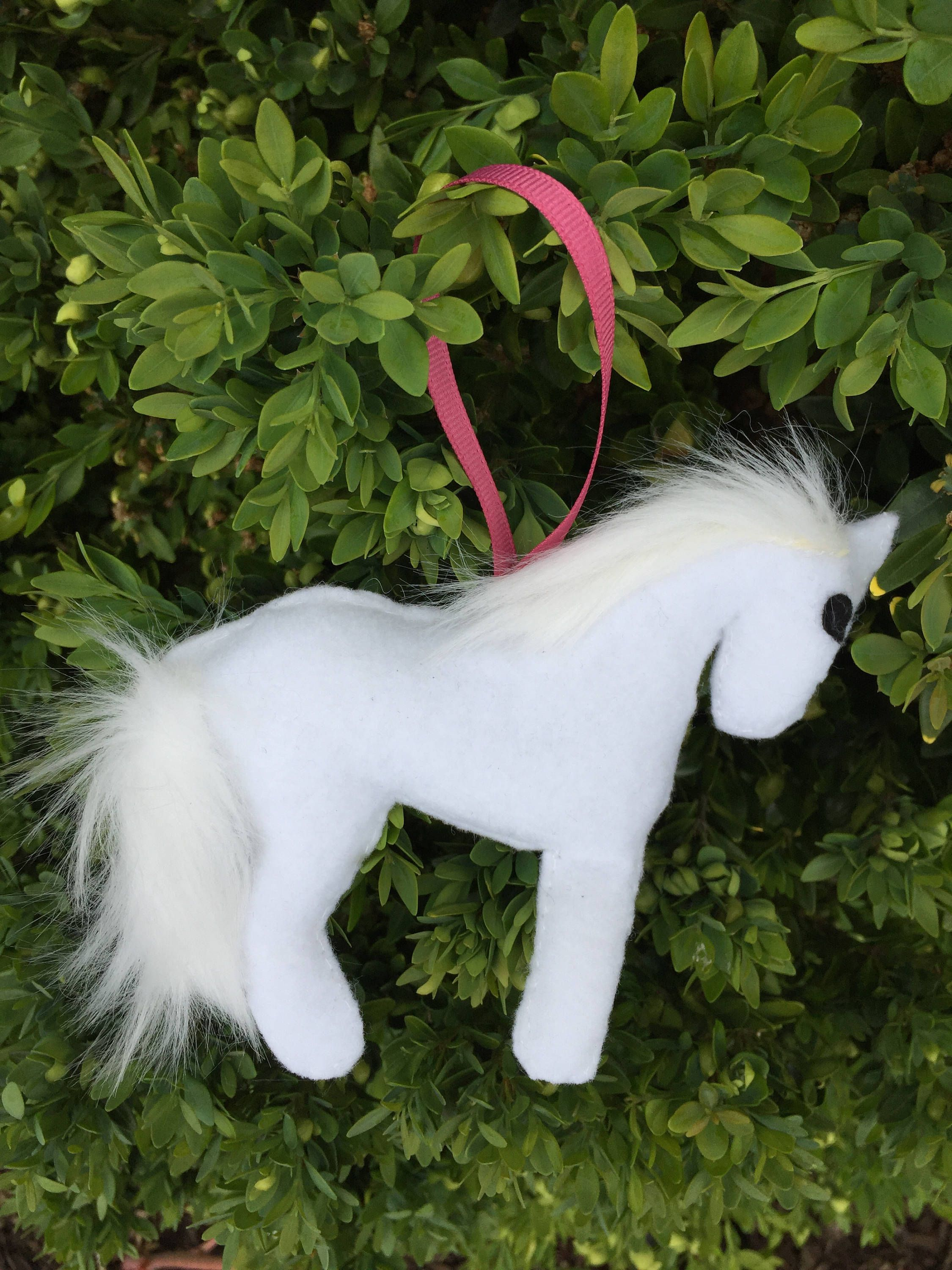 Pet memorial christmas ornaments - Felt Horse Ornament White Horse Christmas Ornament White Horse With Faux White Mane And Tail Pet Memorial Horse Lovers Gift