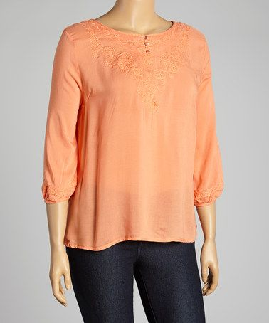 This Coral Embroidered Peasant Top - Plus is perfect! #zulilyfinds
