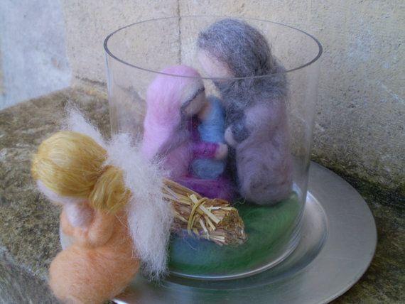 Nativity Set  Terrarium  Needle Felted  Soft by stitchcreations, $80.00