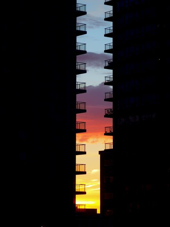 Sunrise colors just filtered between two buildings on a perfect autumn morning....