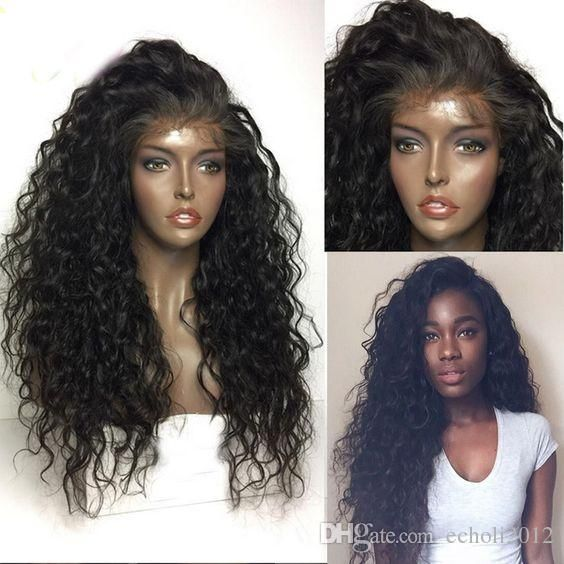 New 150 Heavy Density Indian Virgin Glueless Full Lace deep curly Lace Front Human Hair Wigs for Black Women
