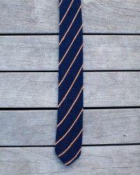 Navy Blue & Orange Striped Tie