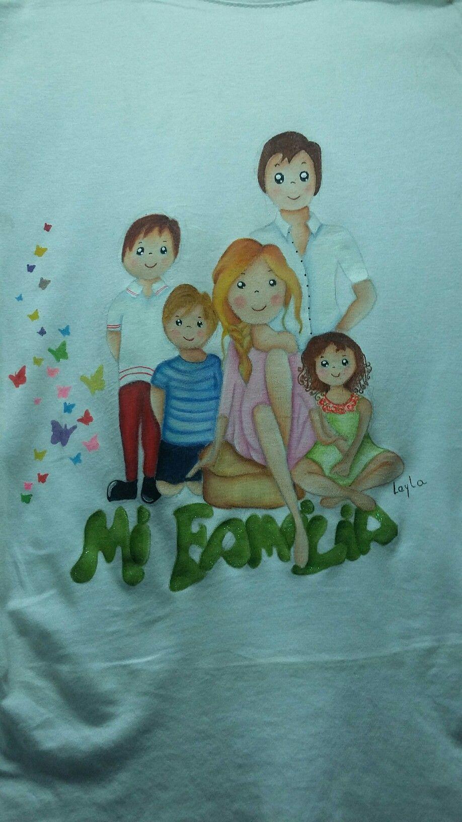 Camiseta mi familia. Pintada a mano. ( inspirada en Silfo) | COISAS ...