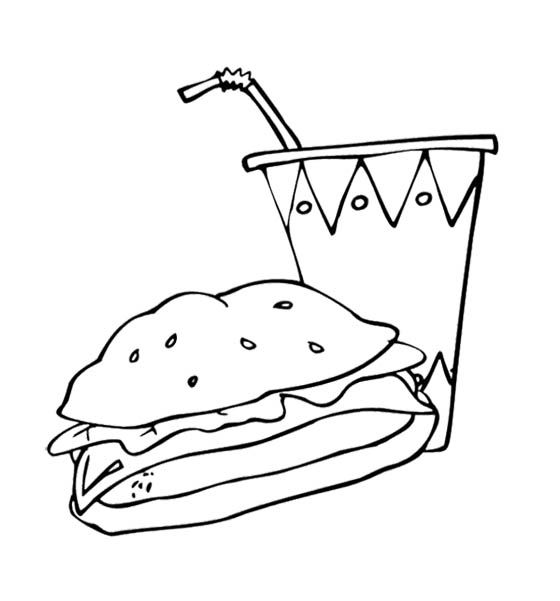 Fast Food The Big Burger And Drink Coloring Page For Kids