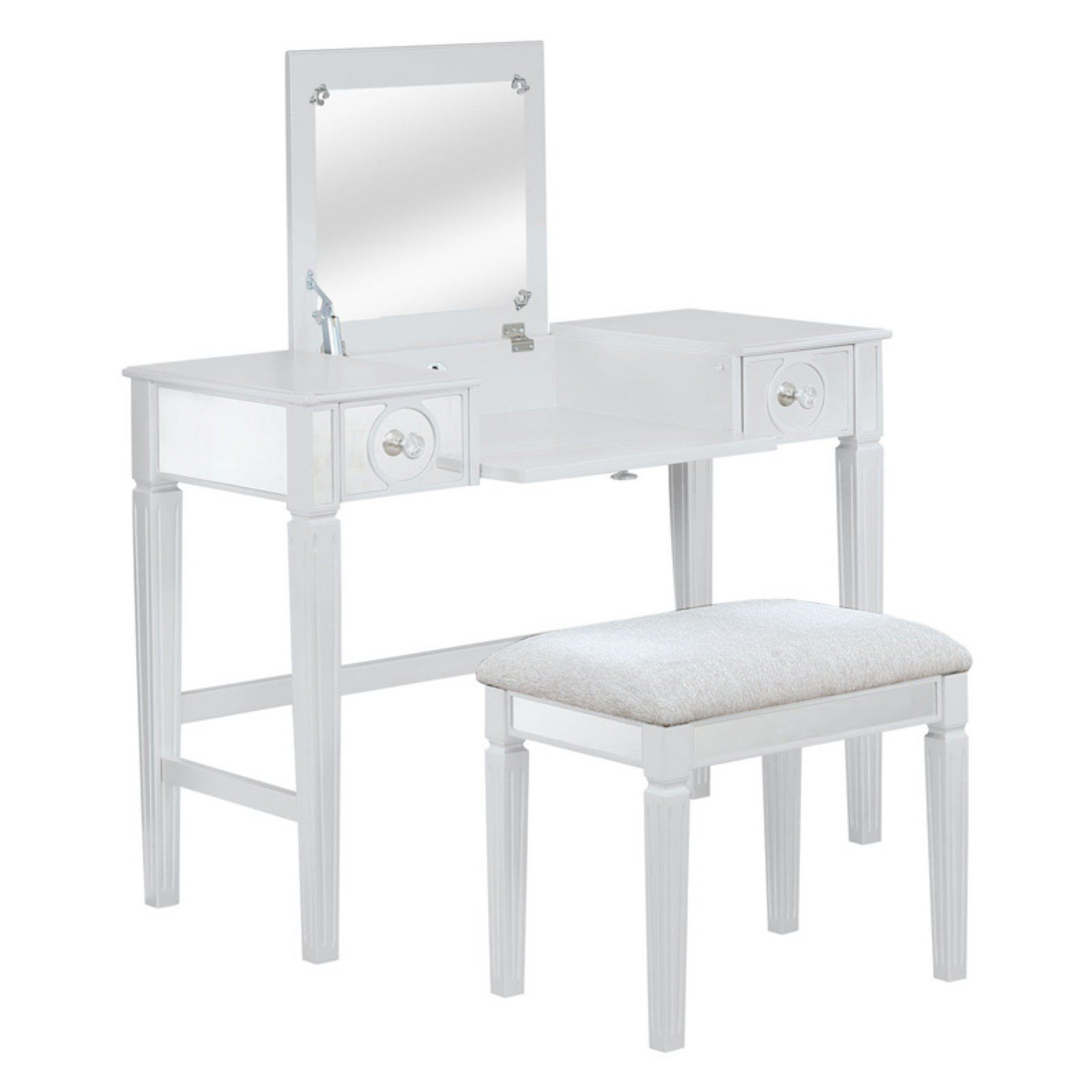 Linon Audrey Mirror Front Top Lift Vanity Set Upholstered Stool Vanity Set Square Dining Tables