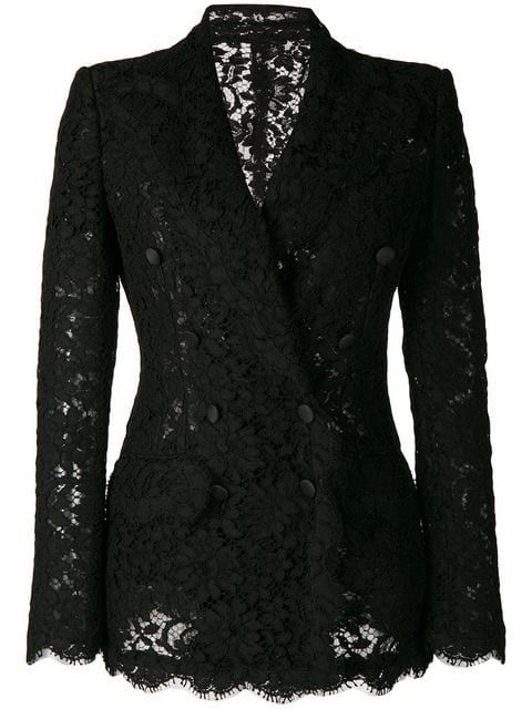 1a596a025641e9 Dolce & Gabbana Cordonetto-Lace Double-Breasted Blazer In Teal-Green |  ModeSens