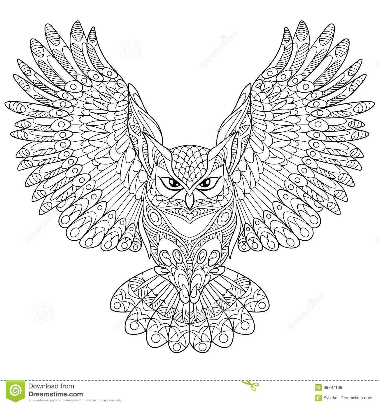 Zentangle Stylized Eagle Owl Stock Vector - Image: 69797109 | СОВЫ ...