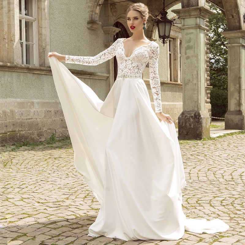 Plunging V LongSleeved Lace Aline Wedding Dress With