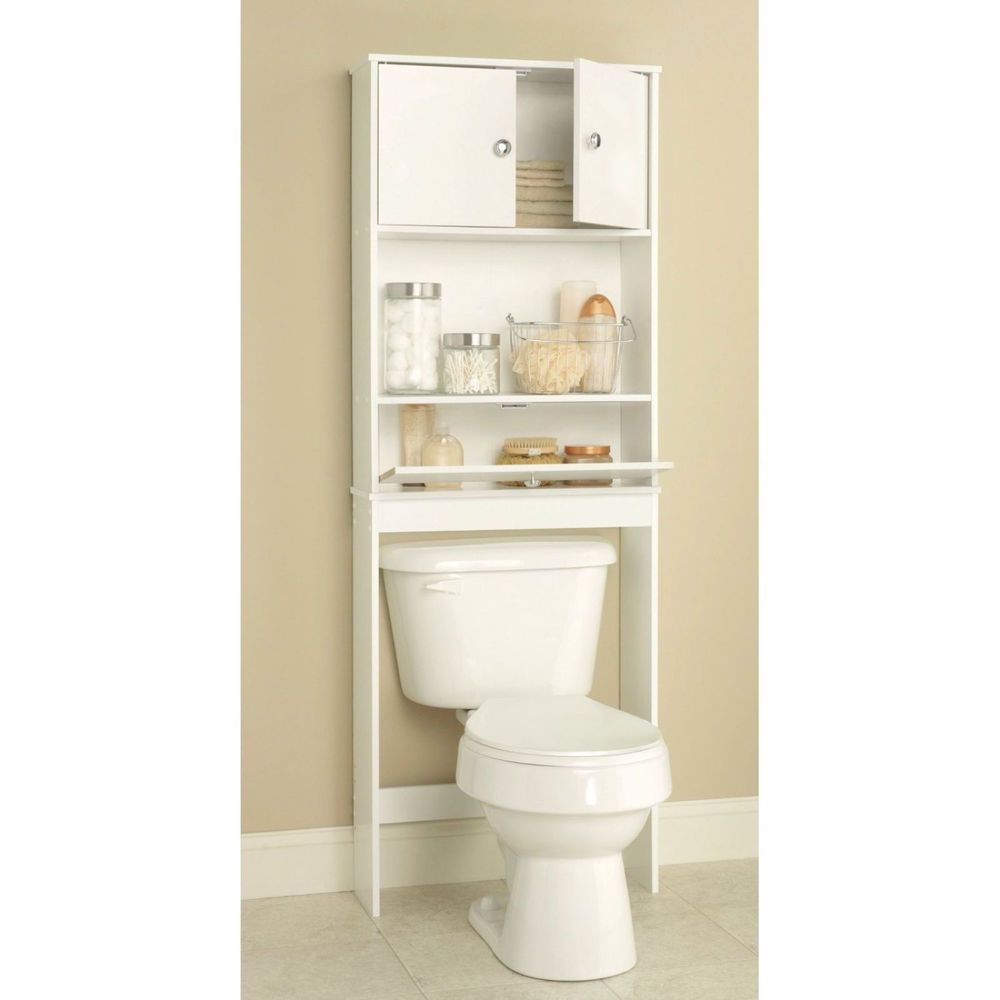 Over the toilet shelf storage cabinet white bathroom organizer rack ...