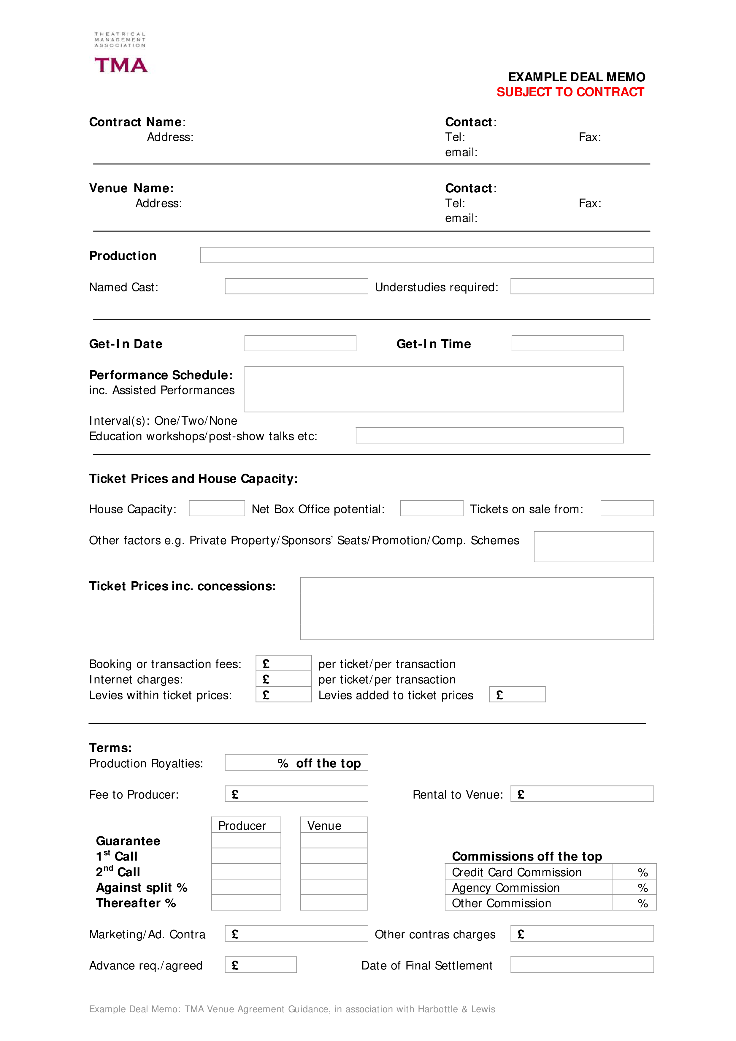 Contract Deal Memo Template  Download This Contract Deal Memo