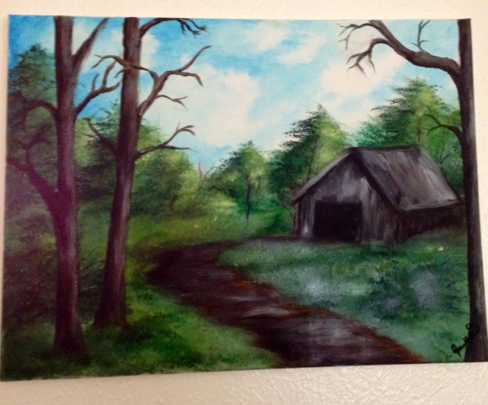Forest cabin --- oil paint