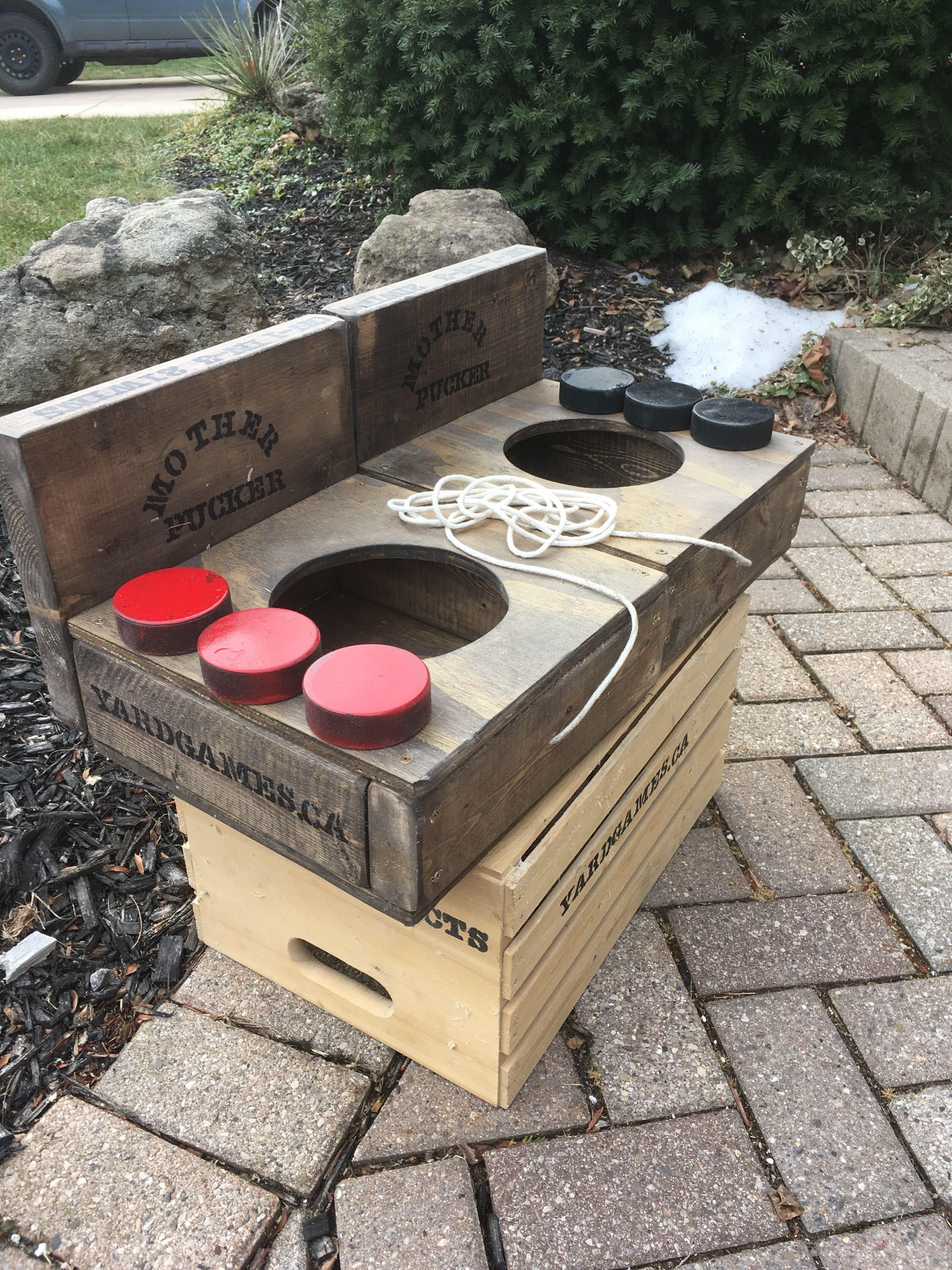 Hockey Puck Toss Game Mother Pucker Think Washer Toss Meets Cornhole With A Twist Washer Toss Washer Toss Game Hockey Puck