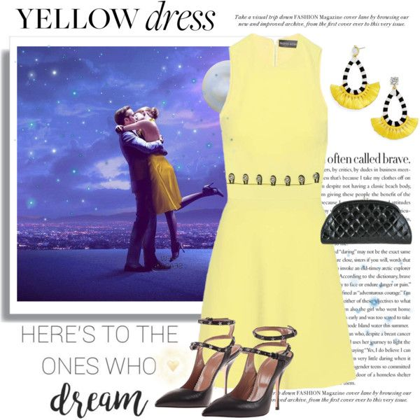 A fashion look from March 2017 by conch-lady featuring David Koma, RED Valentino, Chanel, BaubleBar, yellowdress and lalaland