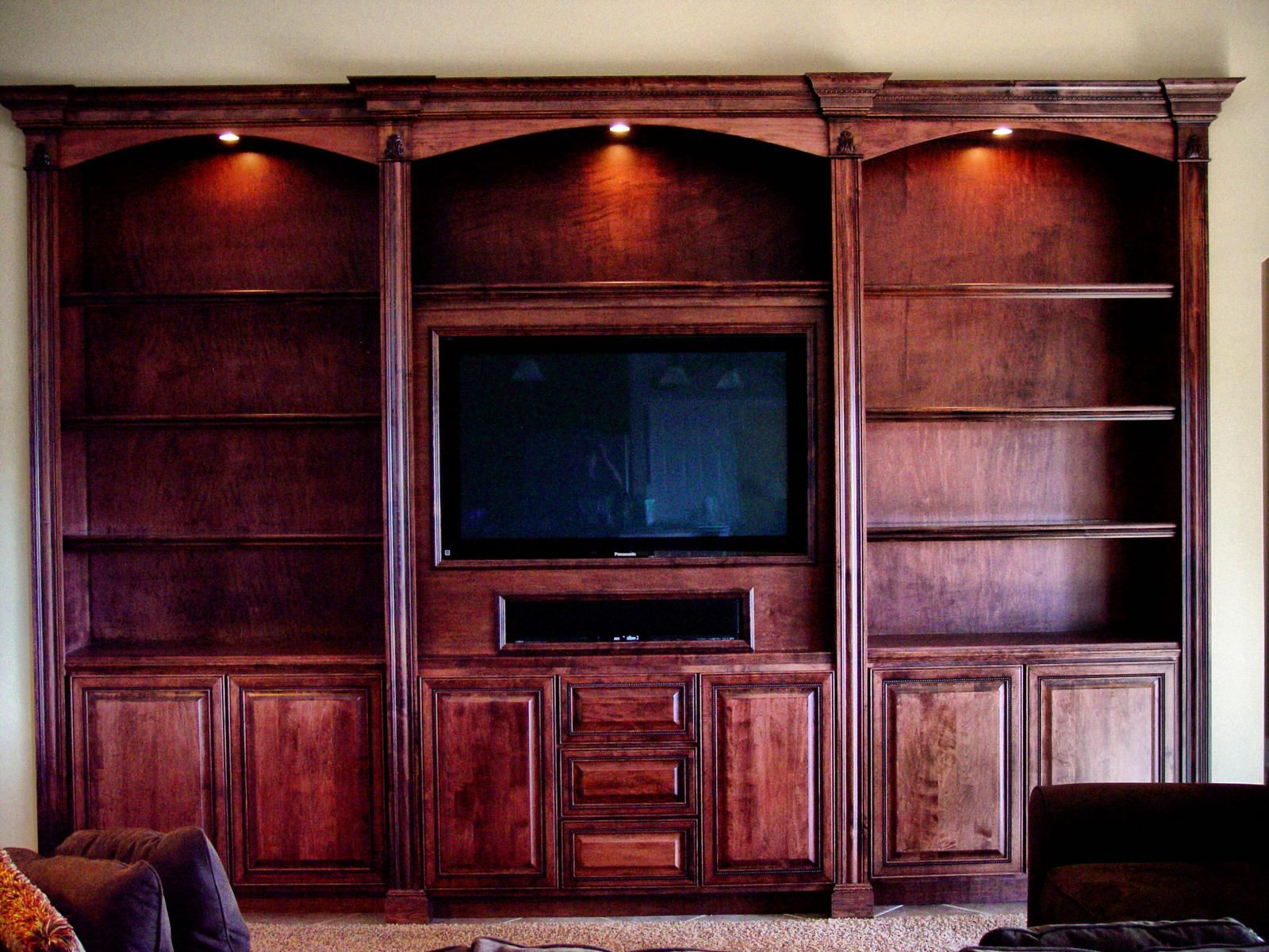 Custom Made Built In Entertainment Center Recessed Lighting Slight Changes To Area Below Television