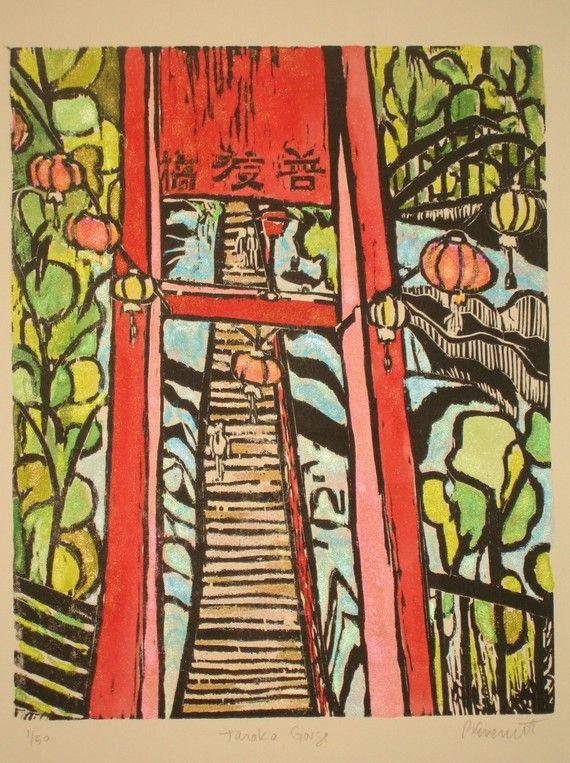 Toroko Gorge  --  Original Woodblock Print. I LOVE THIS!