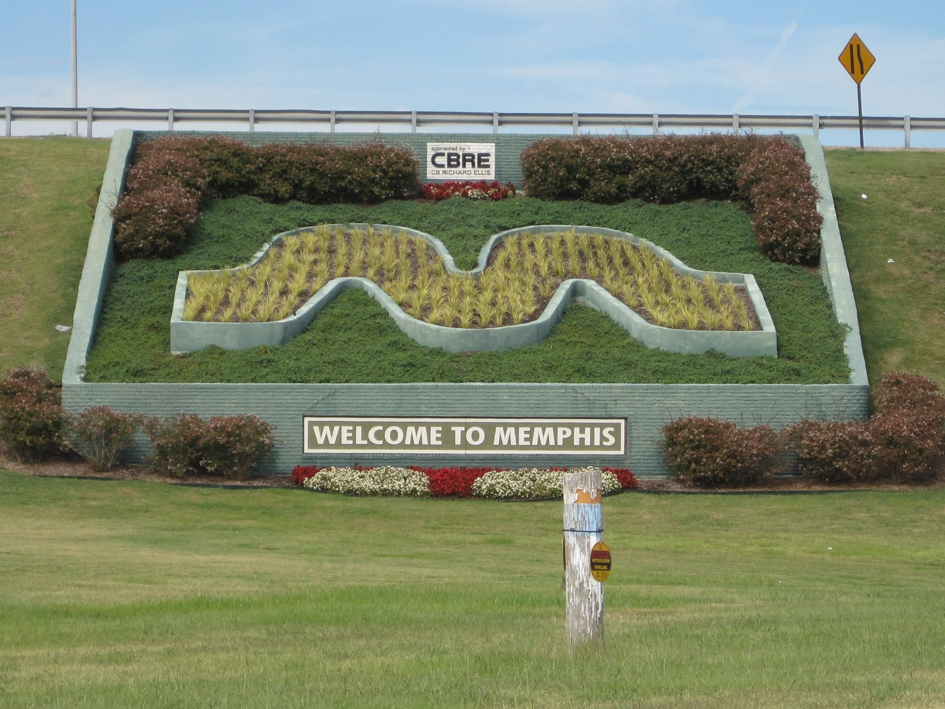 The M made of freshly planted flowers.....Near the Airport
