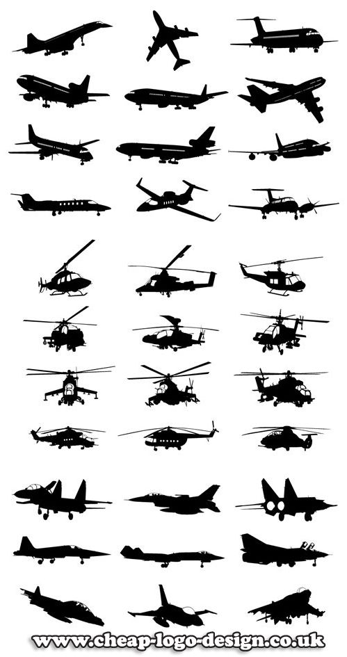 aircraft silhouettes suitable for aviation company logo