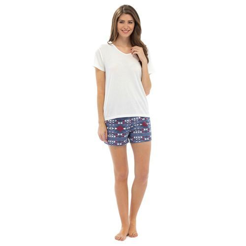 b256b6beca Ladies Plain SS Top   Aztec Design Short PJs Set  White Top