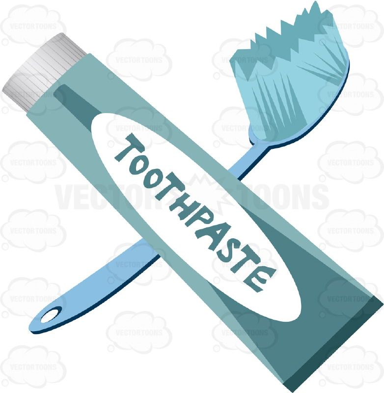 Photo Gallery On Website Blue Toothbrush And Blue Tube Of Toothpaste With White Label VectorsVector ClipartWhite